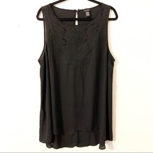 Torrid Black Hi Lo Tank with Embroidered Neck Sz 2